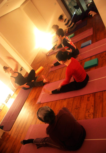 yoga class teaching photo